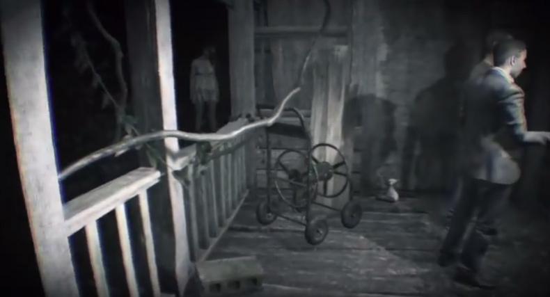 1.家のドアを開けようとしている時. 幽霊 入り口 バイオハザード7